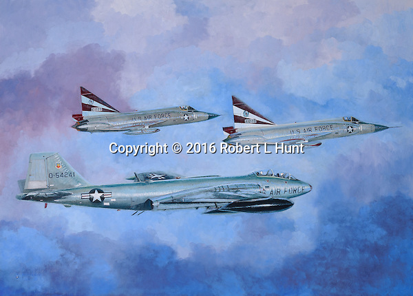 Two F-102 Delta Daggers escorting a B-57 Canberra bomber on a mission during the Vietnam War. Oil on canvas, 28x39.