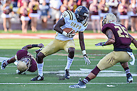 Arkansas Pine-Bluff's wide receiver Isiah Ferguson (14) rushes for some yards during first half of NCAA Football game, Saturday, August 30, 2014 in San Marcos, Tex. Texas State leads Arkansas Pine-Bluff 42-0 at the halftime. (Mo Khursheed/TFV Media via AP Images)