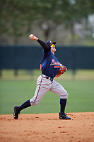 Atlanta Braves Marcus Mooney (96) during a minor league Spring Training game against the Detroit Tigers on March 25, 2017 at ESPN Wide World of Sports Complex in Orlando, Florida.  (Mike Janes/Four Seam Images)