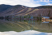 Cannon Mountain from Echo Lake in Franconia Notch State Park of New Hampshire during the winter months.