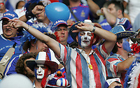 A French fan welcomes his team to the field.  Italy defeated France on penalty kicks after leaving the score tied, 1-1, in regulation time in the FIFA World Cup final match at Olympic Stadium in Berlin, Germany, July 9, 2006.