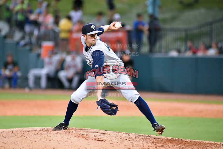 Southern Divisions pitcher Stephen Villines (40) of the Columbia Fireflies delivers a pitch during the South Atlantic League All Star Game at First National Bank Field on June 19, 2018 in Greensboro, North Carolina. The game Southern Division defeated the Northern Division 9-5. (Tony Farlow/Four Seam Images)