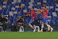 Angel Montoro of Granada CF celebrates after scoring the goal of 1-1 during the Europa League round of 32, 2nd leg football match between SSC Napoli and Granada CF at Diego Armando Maradona stadium in Napoli (Italy), February 25, 2021.<br /> Photo Cesare Purini / Insidefoto