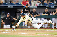 Vanderbilt Commodores outfielder JJ Bleday (51) slides head first into the plate during the ninth inning of Game 12 of the NCAA College World Series against the Louisville Cardinals on June 21, 2019 at TD Ameritrade Park in Omaha, Nebraska. Vanderbilt defeated Louisville 3-2. (Andrew Woolley/Four Seam Images)