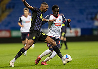 Bolton Wanderers' Arthur Gnahoua competing with Newcastle United U21's Ludwig Francillette (left) <br /> <br /> Photographer Andrew Kearns/CameraSport<br /> <br /> EFL Papa John's Trophy - Northern Section - Group C - Bolton Wanderers v Newcastle United U21 - Tuesday 17th November 2020 - University of Bolton Stadium - Bolton<br />  <br /> World Copyright © 2020 CameraSport. All rights reserved. 43 Linden Ave. Countesthorpe. Leicester. England. LE8 5PG - Tel: +44 (0) 116 277 4147 - admin@camerasport.com - www.camerasport.com