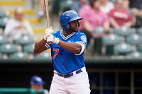 Oklahoma City Dodgers left fielder O'Koyea Dickson (7) at bat during a game against the Colorado Springs Sky Sox on June 2, 2017 at Chickasaw Bricktown Ballpark in Oklahoma City, Oklahoma.  Colorado Springs defeated Oklahoma City 1-0 in ten innings.  (Mike Janes/Four Seam Images)
