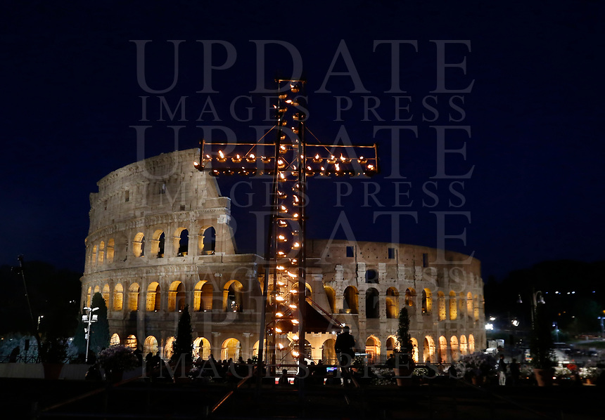 A view of the Colosseum before the start of the Via Crucis (Way of the Cross) presided by Pope Francis on Good Friday in Rome, April 19, 2019.<br /> UPDATE IMAGES PRESS/Riccardo De Luca<br /> <br /> STRICTLY ONLY FOR EDITORIAL USE