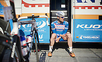 Jempy Drucker (LUX) enjoying the warmest march 8th recorded in belgian history before going out to the start<br /> <br /> 3 Days of West-Flanders <br /> stage 1: Brugge - Harelbeke 183km