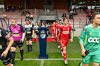 Aalst and Standard players entering the pitch before a female soccer game between Standard Femina de Liege and Eendracht Aalst dames on the fourth matchday in the 2021 - 2022 season of the Belgian Scooore Womens Super League , Saturday 11 th of September 2021  in Angleur , Belgium . PHOTO SPORTPIX   BERNARD GILLET