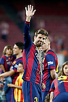 FC Barcelona's Gerard Pique celebrates the victory in the Spanish King's Cup Final match. May 30,2015. (ALTERPHOTOS/Acero)