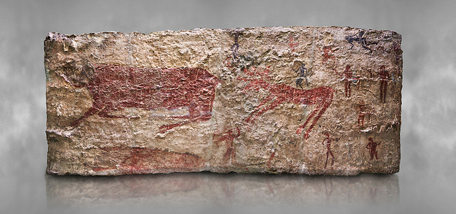 Hunting scene. A deer and wild boar are depicted being hunted with people using bows and arrows. One person is depcted trying to net the boar. 6000 BC,  Catalhoyuk Collections. Museum of Anatolian Civilisations, Ankara. Against a gray mottled background