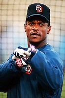 Ricky Henderson of the San Diego Padres at Dodger Stadium in Los Angeles,California during the 1996 season. (Larry Goren/Four Seam Images)