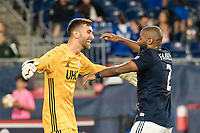 FOXBOROUGH, MA - SEPTEMBER 29: Matt Turner #30 of New England Revolution and Andrew Farrell #2 of New England Revolution celebrate winning the game during a game between New York City FC and New England Revolution at Gillettes Stadium on September 29, 2019 in Foxborough, Massachusetts.