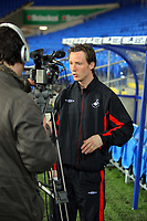 ATTENTION SPORTS PICTURE DESK<br /> Pictured:<br /> Re: South Wales football derby between Cardiff City FC and Swansea city FC for the Coca Cola Championship at the Cardiff City Stadium. Saturday 03 April 2010