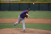 Colorado Rockies relief pitcher Austin Moore (87) delivers a pitch to the plate during an Extended Spring Training game against the Arizona Diamondbacks at Salt River Fields at Talking Stick on April 16, 2018 in Scottsdale, Arizona. (Zachary Lucy/Four Seam Images)