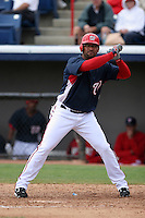Washington Nationals D'Angelo Jimenez during a Grapefruit League Spring Training game at Spacecoast Stadium on March 19, 2007 in Melbourne, Florida.  (Mike Janes/Four Seam Images)