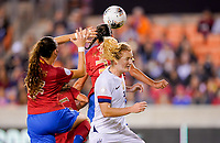 HOUSTON, TX - FEBRUARY 03: Samantha Mewis #3 of the United States battles with Maria Paula #17 of Costa Rica during a game between Costa Rica and USWNT at BBVA Stadium on February 03, 2020 in Houston, Texas.