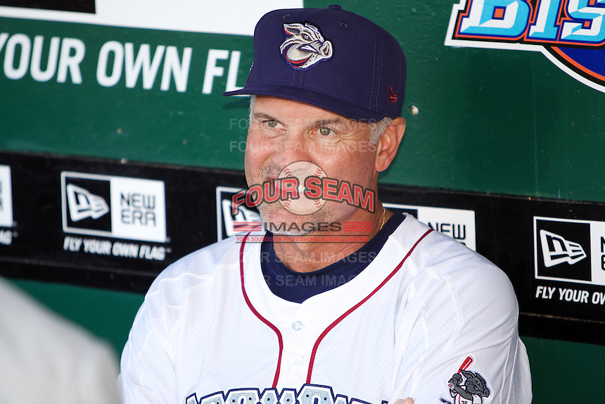 Lehigh Valley Ironpigs manager Ryne Sandberg #23 during the Triple-A All-Star game featuring the Pacific Coast League and International League top players at Coca-Cola Field on July 11, 2012 in Buffalo, New York.  PCL defeated the IL 3-0.  (Mike Janes/Four Seam Images)