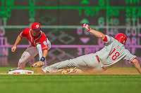 15 September 2013: Washington Nationals infielder Stephen Lombardozzi gets Philadelphia Phillies' outfielder Darin Ruf out at second as Ruf tries to stretch a single into a double during the 6th inning against the Philadelphia Phillies at Nationals Park in Washington, DC. The Nationals took the rubber match of their 3-game series 11-2 to keep their wildcard postseason hopes alive. Mandatory Credit: Ed Wolfstein Photo *** RAW (NEF) Image File Available ***