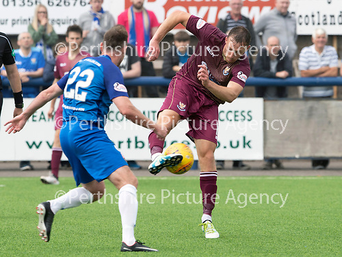 Montrose v St Johnstone…21.07.18…  Links Park    League Cup<br />David McMillan's shot is saved by Jordan Millar<br />Picture by Graeme Hart. <br />Copyright Perthshire Picture Agency<br />Tel: 01738 623350  Mobile: 07990 594431