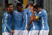 Calcio, Serie A: Lazio vs Udinese. Roma, stadio Olimpico, 13 settembre 2015.<br /> Lazio's Alessandro Matri, second from right, celebrates with teammates after scoring during the Italian Serie A football match between Lazio and Udinese at Rome's Olympic stadium, 13 September 2015.<br /> UPDATE IMAGES PRESS/Isabella Bonotto