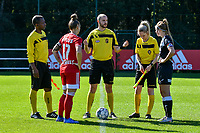Referee Kagne Bonaventure,  Standard Coutereels Maud (17), Referee Ncolas Julien, Referee  Lejear Melissa,  and E. Aalst Van Mingeroet Chloe (17) pictured before a women soccer match between Standard Femina de Liege and Eendracht Aalst dames, Saturday 25 September 2021 in Liege, in the 1/16 th final of the Belgian Womens Cup 2021-2022. PHOTO BERNARD GILLET