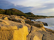 The rocky shoreline at Acadia National Park on Mount Desert Island in Maine. Acadia National Park was the first established national park east of the Mississippi River.