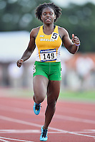 Kehri Jones of Baylor competes in 100 meter prelims during West Preliminary Track and Field Championships, Friday, May 29, 2015 in Austin, Tex. (Mo Khursheed/TFV Media via AP Images)