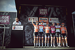 Boels Dolmans Cycling Team at sign on before the 2018 Liege-Bastogne-Liege Femmes running 136km from Bastogne to Ans, Belgium. 22nd April 2018.<br /> Picture: ASO/Thomas Maheux | Cyclefile<br /> All photos usage must carry mandatory copyright credit (© Cyclefile | ASO/Thomas Maheux)