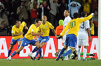 Lucio of Brazil celebrates scoring the winning goal. Brazil defeated USA 3-2 in the FIFA Confederations Cup Final at Ellis Park Stadium in Johannesburg, South Africa on June 28, 2009.