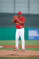 Palm Beach Cardinals starting pitcher Jordan Hicks (44) gets ready to deliver a pitch during a game against the Charlotte Stone Crabs on July 23, 2017 at Roger Dean Stadium in Palm Beach, Florida.  Charlotte defeated Palm Beach 3-0.  (Mike Janes/Four Seam Images)