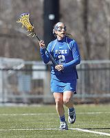 Duke University attacker Makenzie Hommel (2) looks to pass.Boston College (white) defeated Duke University (blue), 10-9, on the Newton Campus Lacrosse Field at Boston College, on April 6, 2013.