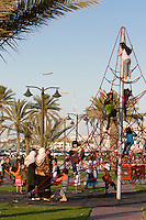 Tripoli, Libya, North Africa - Playground, Park, near the Green Square, Children on Climbing Aparatus.