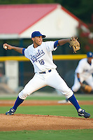 Starting pitcher Manauris Baez (18) of the Burlington Royals in action at Burlington Athletic Park in Burlington, NC, Saturday, July 26, 2008. (Photo by Brian Westerholt / Four Seam Images)
