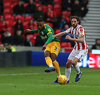 Preston North End's Darnell Fisher and Stoke City's Joe Allen<br /> <br /> Photographer Stephen White/CameraSport<br /> <br /> The EFL Sky Bet Championship - Stoke City v Preston North End - Saturday 26th January 2019 - bet365 Stadium - Stoke-on-Trent<br /> <br /> World Copyright © 2019 CameraSport. All rights reserved. 43 Linden Ave. Countesthorpe. Leicester. England. LE8 5PG - Tel: +44 (0) 116 277 4147 - admin@camerasport.com - www.camerasport.com
