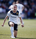 Bilel Mohsni roaring at the fans after falling