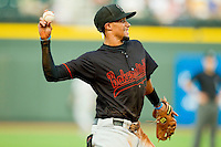 California League All-Star shortstop Billy Hamilton #4 of the Bakersfield Blaze makes a throw to first base against the Carolina League All-Stars during the 2012 California-Carolina League All-Star Game at BB&T Ballpark on June 19, 2012 in Winston-Salem, North Carolina.  The Carolina League defeated the California League 9-1.  (Brian Westerholt/Four Seam Images)
