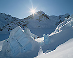 Skiers on Tasman Glacier in the Mount Cook National Park. New Zealand.