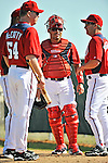 19 February 2011: Washington Nationals' catcher Ivan Rodriguez (center) chats with Manager Jim Riggleman (right) and pitching coach Steve McCatty during Spring Training at the Carl Barger Baseball Complex in Viera, Florida. Mandatory Credit: Ed Wolfstein Photo