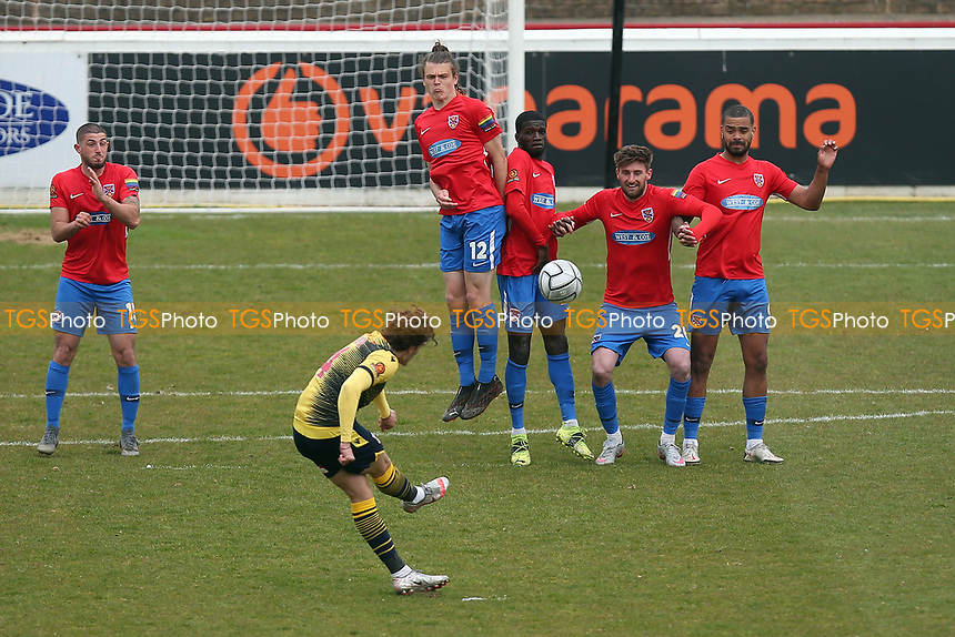 Charlie Cooper of Woking goes close with a free-kick during Dagenham & Redbridge vs Woking, Vanarama National League Football at the Chigwell Construction Stadium on 3rd May 2021