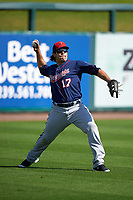 Minnesota Twins outfielder Carlos Quentin (17) during a Spring Training practice on March 1, 2016 at Hammond Stadium in Fort Myers, Florida.  (Mike Janes/Four Seam Images)