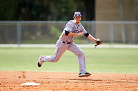New York University Violets shortstop Jonathan Iaione (2) looks to field a ground ball up the middle during a game against the Edgewood Eagles on March 14, 2017 at Terry Park in Fort Myers, Florida.  NYU defeated Edgewood 12-7.  (Mike Janes/Four Seam Images)