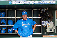 UCLA head coach John Savage before the 2013 Men's College World Series Final against the Mississippi State Bulldogs on June 25, 2013 at TD Ameritrade Park in Omaha, Nebraska. The Bruins defeated the Bulldogs 8-0, winning the National Championship. (Andrew Woolley/Four Seam Images)