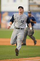 First baseman Nate Recknagel #12 of the Lake County Captains.charges in for an infield pop fly at Fieldcrest Cannon Stadium May 1, 2009 in Kannapolis, North Carolina. (Photo by Brian Westerholt / Four Seam Images)