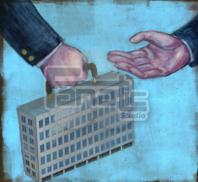 Conceptual illustration of business acquisition over blue background