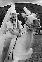 Impersonation of Lady Godiva at the Llanthony County Fair, Monmouthshire.