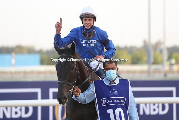 March 27, 2021: REBEL'S ROMANCE #10, ridden by jockey William Buick wins the UAE Derby for trainer Charlie Appleby on Dubai World Cup Day, Meydan Racecourse, Dubai, UAE. Shamela Hanley/Eclipse Sportswire/CSM