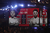 9th October 2021; M&S Bank Arena, Liverpool, England; Matchroom Boxing, Liam Smith versus Anthony Fowler; the giant screen above the rings shows the fighters' statistics