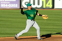 Beloit Snappers second baseman Bubba Hollins (15) makes a throw to first during a game against the Wisconsin Timber Rattlers on May 4, 2021 at Neuroscience Group Field at Fox Cities Stadium in Grand Chute, Wisconsin.  (Brad Krause/Four Seam Images)