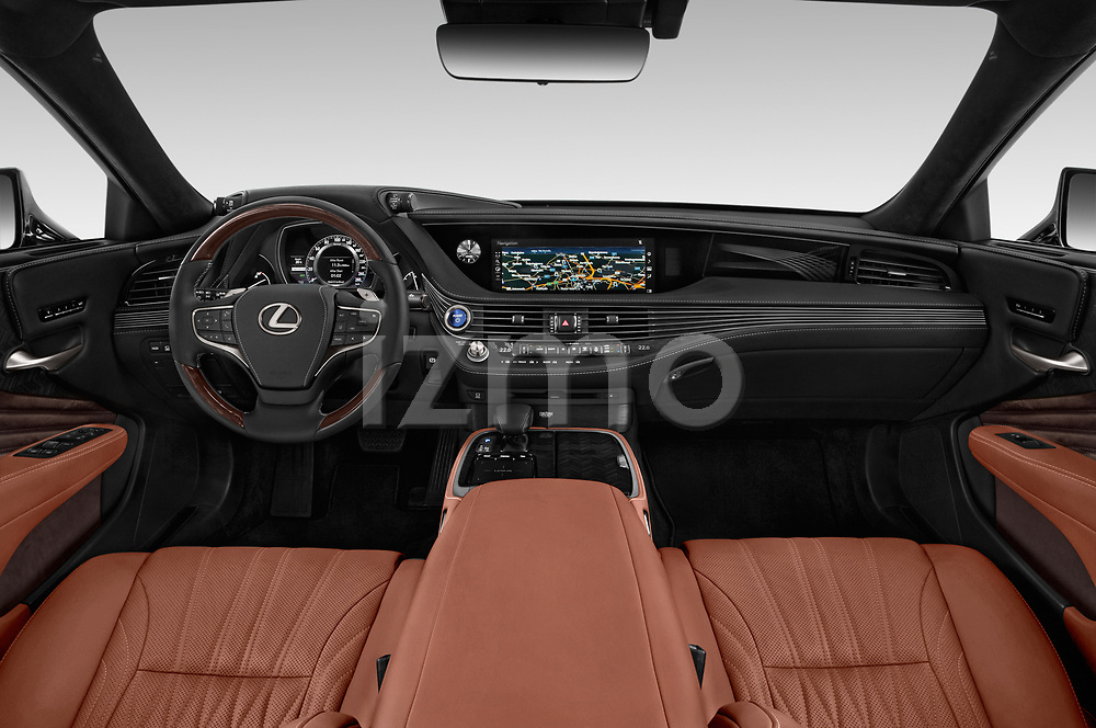 Stock photo of straight dashboard view of a 2018 Lexus LS President 4wd 4 Door Sedan